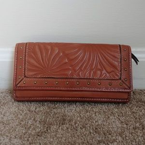 Fossil Brown Soft Leather Floral Embossed Wallet